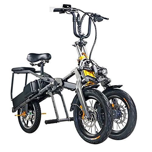 MSM Undine-klicken Schnelle Falten E-Bike,Dreirad Dual Lithium-Batterie Elektrofahrrad Scooter,Tragbares Pullable Undlternteil-Kind Pedelec Schwarz 350w 48v 7.5ah