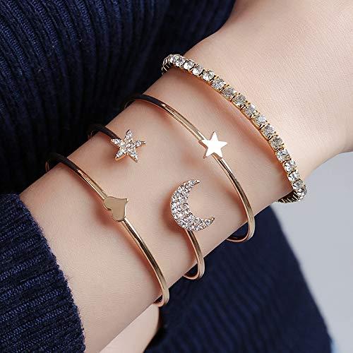 Jovono - Brazaletes abiertos y pulsera ancha con diamantes de imitación para mujeres y niñas (4 piezas)