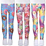 LUOUSE Tollder Girls Stretch Workout Active Shiny Leggings Kids Trendy Slim Footless Yoga Pants 3 Packs Sets Ankle Length Size 8T - 9T