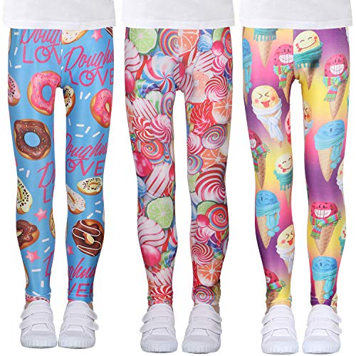 LUOUSE Girls Stretch Athletic Leggings Kids Skinny Patterned Yoga Pants 3 Pack Sets Ankle Length Size 12T - 13T
