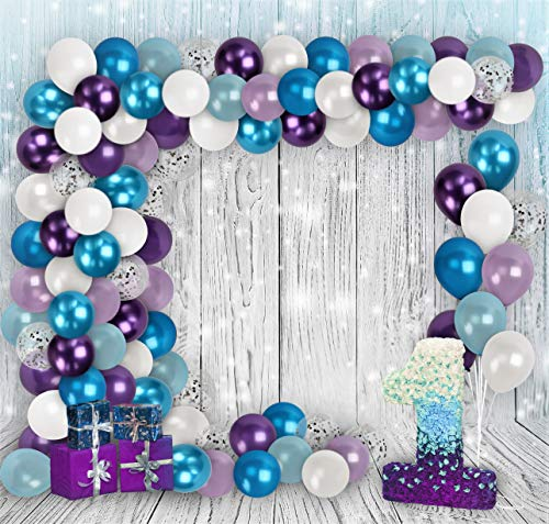 Winter Wonderland Balloon Garland Kit Chrome Metallic Blue Purple White Balloons Arch Silver Star Confetti Balloon Frozen Birthday Baby Shower Party Decorations Engagement Bridal Shower Party Supplies