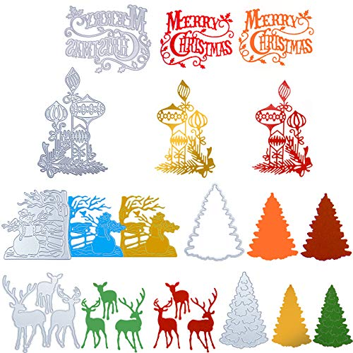 7 Stück Weihnachten Schmuck Stanzungen Weihnachten Metall Präge Schablonen Weihnachtsbaum Schneeflocke Schneemann Hirsch Schneid Werkzeuge Hintergrund Schichtung Stanzwerkzeuge Schnitte