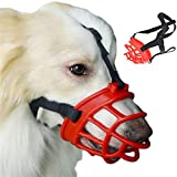 JYHY® Soft Silica Gel Dog Muzzles,Adjustable Anti Biting Chewing Barking Training Dog Muzzle (2#(21-26cm), Red)