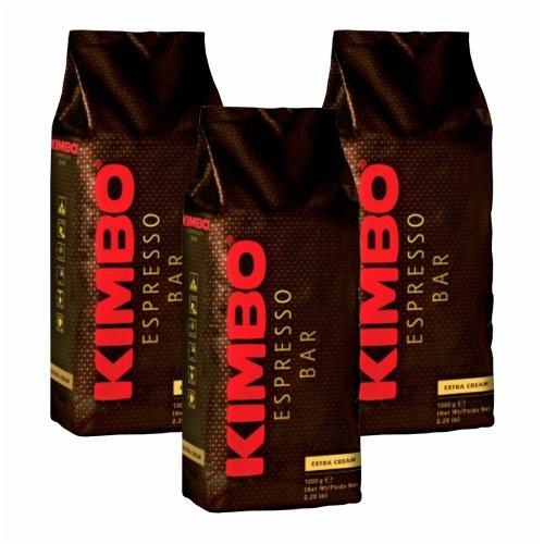 3x Kaffeebohnen Kimbo Espresso Bar 'Extra Cream', 1000 g