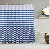 Cortina de ducha, resistente al agua y a prueba de ácaros, cortina de PEVA azul y blanco, rayas de PEVA, 260 x 200 cm, con 12 ganchos