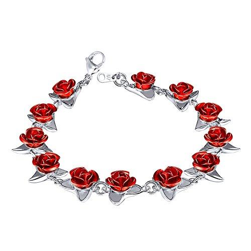 U7 Women Girls Cute Platinum Plated Link Red Rose Flower Charm Bracelets