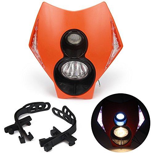 Jfgracing universale H312V 35W alogena faro LED moto doppia testa della lampada con LED accensione luci per K.T.M Duke Dirt bike super Motard–arancione
