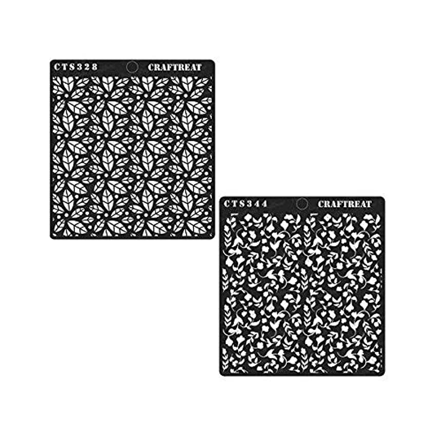 CrafTreat Stencil - Scattered Leaves & Foliage2 (2 pcs) | Reusable Painting Template for Home Decor, Crafting, DIY Albums, Scrapbook and Printing on Paper, Wall, Tile, Fabric, Wood 6