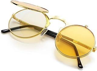 cf7308eda7 COASION Vintage Round Flip Up Sunglasses for Men Women Juniors John Lennon  Style Circle Sun Glasses