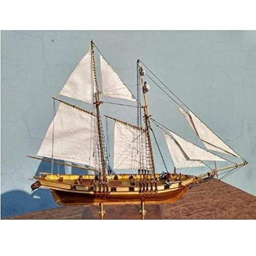 XIUYU Wohnzimmerdekorationen Chem Sailboat Modell Thick-Material Retro-Skala 1/96 Classics Antike hölzerne Segelboot Model Kits Harvey 1847 Holzschiff Bausatzkit