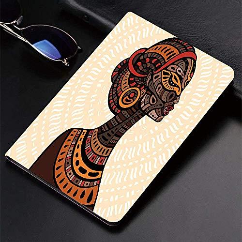 Funda para iPad (24.638, modelo 2018/2017, sexta / quinta generación) Funda inteligente ultradelgada y ligera, mujer africana, ilustración étnica dibujada a mano, retrato de perfil, nombre tribal, fun