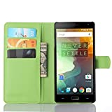 Ycloud Tasche für OnePlus Two Hülle, PU Ledertasche Flip Cover Wallet Hülle Handyhülle mit Stand Function Credit Card Slots Bookstyle Purse Design grün