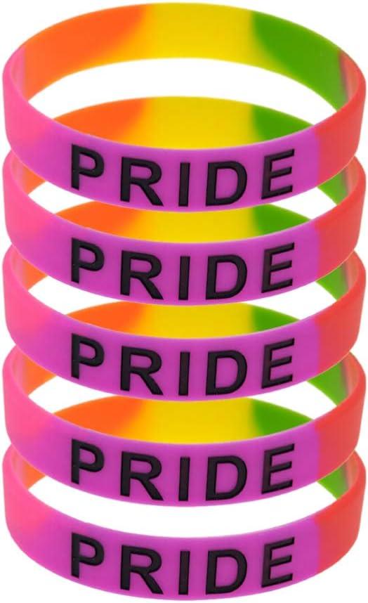 NUOBESTY Rainbow Pride Bracelets 5Pcs Bracelets Colorful Silicone Bangle Silicone Bracelet Lovers Bracelet for Pride Month LGBT Stuff