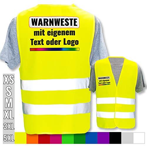 Warnweste selbst gestalten mit eigenem Aufdruck * Bedruckt mit Name Text Bild Logo Firma, Farbe & Größe:Gelb/Größe XL/XXL, Position & Druckart:Rücken + Front/Premium-Druck