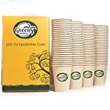 Compostable/Biodegradable/Disposable Cups Hot or Cold Brew Eco Bamboo Coffee Cups 12oz 100pack by Green Solutions Products