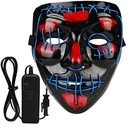 MXJFYY Máscaras de Halloween 2020 Nueva Máscara LED Glow Scary Light Up Máscaras para Festival Fiesta, Masquerade Máscara de Cosplay para Hombres Mujeres Niños (Azul)