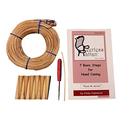 Complete Chair Caning Kit, Includes 270' of Cane, Awl, 12 Pegs, Full Color Instructions by Cindy Hammond, Pegging Material and 4mm Binder Strip (Medium 3mm)