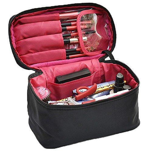 Kosmetiktasche Kosmetikkoffer Travel Kulturtasche Kosmetik Make-up Tasche Organizer Kosmetiktäschchen Travel Kit Kulturbeutel für Damen und Herren (Rot Schwarz)