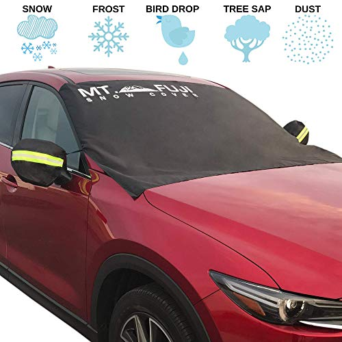 MT. FUJI Windshield Cover for Ice and Snow Windshield Snow Cover for Sedan Cars SUV Van Truck Minivans (93″X 43″) Plus a Set of Side Mirror Covers (Front Cover)