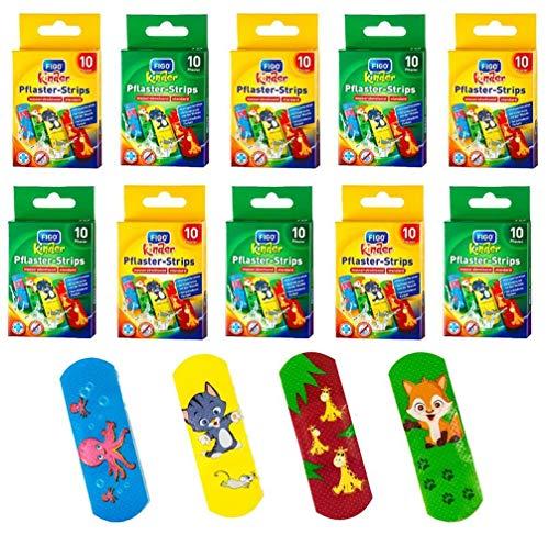 100 Stück FIGO Kinderpflaster Pflaster-Strips Pflaster verschiedene Motive, 10 Packungen (Tierkinder 100 Stück)