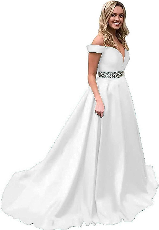 Liangjinsmkj Off Shoulder Split Prom Evening Dress for Women ALine Satin Formal Gown