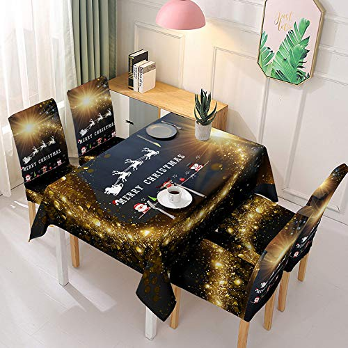 Siera Waterproof Christmas Tablecloth and Chair Cover Elastic Santa Claus Rectangular Dinning Table Cover Cloth for Party Table Cover,C,140x140cm