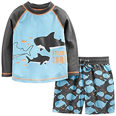 Simple Joys by Carter's Baby Boys' Toddler 2-Piece Swimsuit Trunk and Rash guard, Blue Whales, 4T by Carter's Simple Joys - Private Label