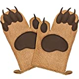 Fairly Odd Novelties FON-10278 Bear Oven Mitts Set Funny and Cute Kitchen Mittens/Potholders for Baking Christmas or Everyday Cooking Gloves, One Size, Brown