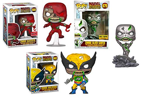 Don't Let Them Bite You!!! Ultimate Zombie Marvel Pack: Wolverine 662, Daredevil 666 (Convention Exclusive), Silver Surfer 675 (Exclusive) Pop! 3 Pack
