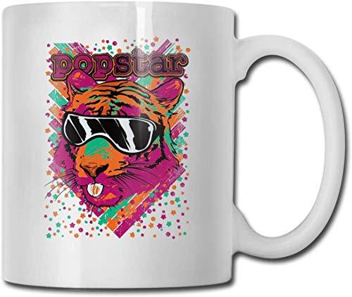 Taza de cerámica con diseño de cabeza de leopardo, diseño de animal y café