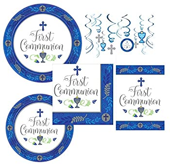 Inspirational Religious Party Supplies and Decorations for First Communion for 18 Guests - Includes Plates Napkins Hanging Swirls and Table Cover