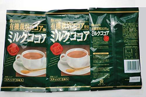 無添加 有機栽培ココア使用 ミルクココア 80g(16g×5本)×3袋