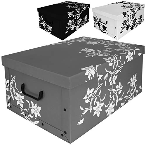 Aufbewahrungsbox 45L mit Deckel Flowers 3er Set Pappe Aufbewahrungskiste Truhe Aufbewahrung Schachtel