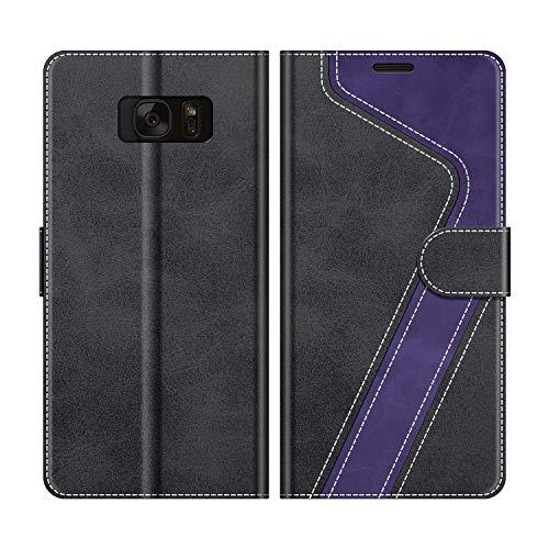 MOBESV Handyhülle für Samsung Galaxy S7 Hülle Leder, Samsung Galaxy S7 Klapphülle Handytasche Hülle für Samsung Galaxy S7 Handy Hüllen, Schwarz/Violett
