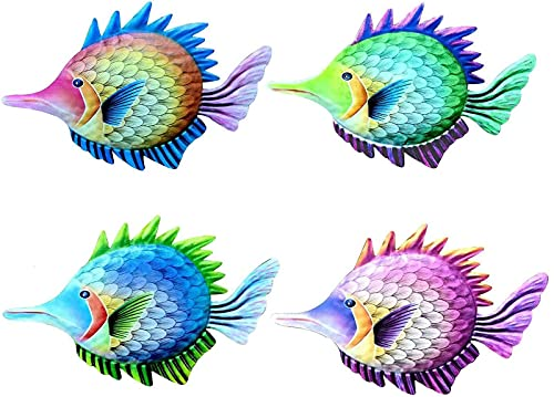 HYBHSCL Metal Yard Art,4PCS 10.26.50.5 Inches Colorful Cute Metal Fish Statues Wall Decor Wall Sculptures,Exquisite Hanging Garden Decor for Outside Wall Art Decorative