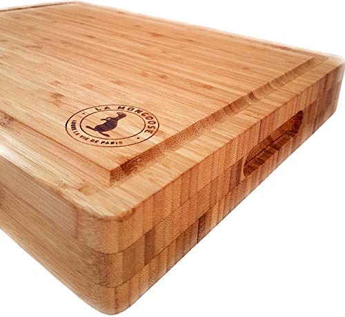 """Bamboo Cutting Board 17 x 13 x 2"""" Extra-Large XL with Juice Groove Hand Grips Multipurpose Big Thick Reversible Wood Butcher Block Chopping Carving Serving Platter Tray Birthday Wedding Gift Idea LA M"""