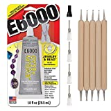 E6000 Jewelry Bead Adhesive Glue for Jewelry Making with 4 Precision Applicator Tips and Pixiss Art...