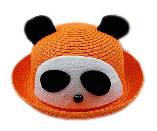 Koala Superstore Cappello di Paglia di Sun Cute Panda Estate del Bambino del Cappello della Benna Topper, Arancione