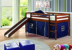 professional DONCO 780ATCP_750C-TP Round loft bed with blue tent, 2 single beds, dark cappuccino
