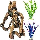 PINVNBY - Adorno de árbol para acuario, diseño de pecera, con agujeros de resina, artificial, para decoración de plantas acuáticas de plástico, cueva de juguete para guppies cíclidos, reptiles