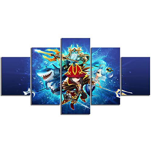 FHSFFS Leinwanddrucke Leinwand HD-Drucke Bilder Wandkunst 5 Panel-Kartenspiel Cartoon Summoners War Sky Arena Gemälde Home Decoration Modular Poster Drucke auf Leinwand