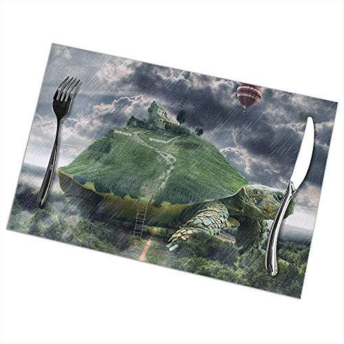 Hao-shop hittebestendige placemats set van 6 eettafel placemats Turtle placemats antislip wasbaar
