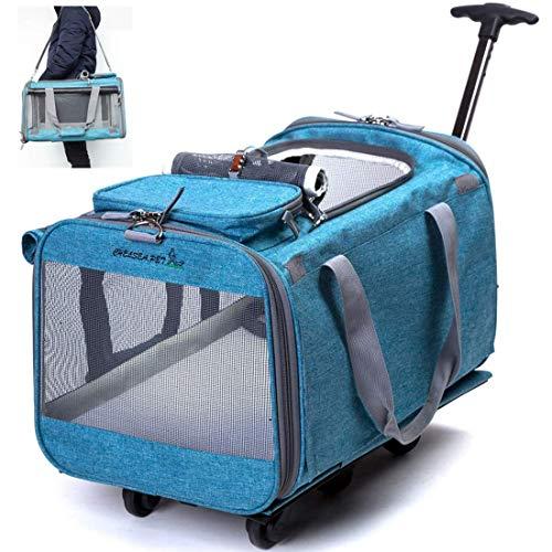 Transportin Carrito Perro Gato Viajar - Transportador Plegable con Correa de Hombro Ruedas Giratorias de 360° Extraíbles y Asa Telescópica para Mascotas de hasta 12 kg Aprobado por Aerolínea (Azul)