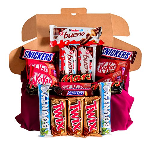 Caja regalo de bombones y chocolates - Kinder Bueno, Kit Kat, Twix, Bounty, Twix, Snickers, Mars. Regalo original para cumpleaños, navidad y San Valentín