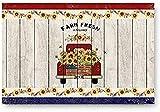Fußmatte für Eingangstür, roter Lastwagen mit Farm Frische Sonnenblume USA-Flagge, Schlafzimmer/Küche/Eingang, Bodenmatte, rutschfest, niedriges Profil (45,7 x 76,2 cm)