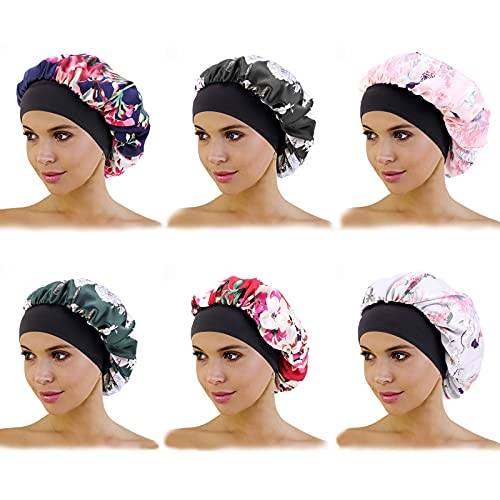 6 Pack Satin Sleep Cap for Women Soft Shower Cap Elastic Wide Band Hat Night Sleeping Head Cover for Good Sleeping (Normal Size)
