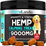 FurroLandia Hemp Calming Treats for Dogs - 170 Soft Chews - Made in Usa - Hemp Oil for Dogs - Dog Anxiety Relief - Natural Calming Aid - Stress - Fireworks - Aggressive Behavior (Peanut Butter Flavor)