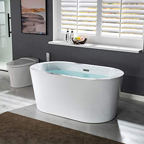 WOODBRIDGE 56' Acrylic Freestanding Bathtub Contemporary Soaking Tub with...