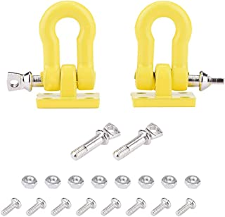 2pcs RC Trailer Hooks, 1:10 Scale RC Trailer Winch Hook Trailer Buckle for RC Climbing Car Crawler Truck Upgrade Part( Yellow)