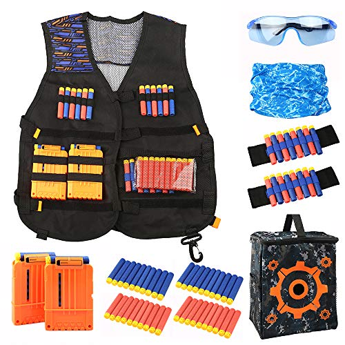 Opaltool Chaleco táctico para niños, Chaqueta Blasters Vest para Nerf Gun N-Strike con 40 Balas de Dardos + 2 Clips de Recarga + muñequera de Mano + Bolsa de Objetivo + máscara de Bufanda + Gafas